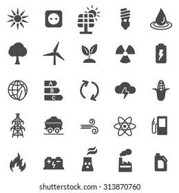 Energy black icons set. Vector