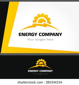 Energy company logo. Electrical or mechanic industrial company brand icon. Lightning and gears as sunrise. Electricity, bolt vector sign. Brandbook idea.