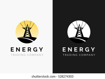 Energy company logo. High voltage tower on a yellow sun background