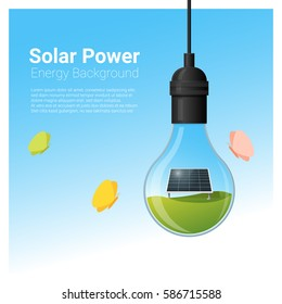 Energy concept background with solar panel in light bulb , vector , illustration