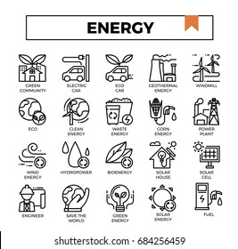 Energy concept icon set vector illustration flat design line icons set for ui, ux, web, app design.
