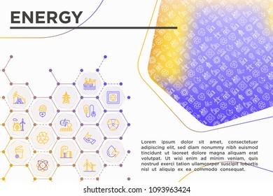 Energy concept with thin line icons: factory, oil platform, hydropower, wind energy, power socket, radioactivity, garbage, oil rig, solar energy, recycling, nuclear energy. Modern vector illustration,