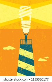 Energy conservation lighthouse. A businessman holding up a bright, energy efficient light bulb, atop a lighthouse, as a symbol for others to follow for future energy conservation.
