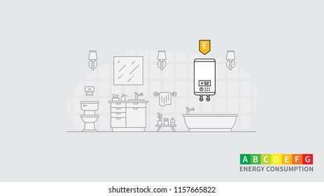Energy consumption of water heater vector illustration. Bathroom interior with water heater (boiler, warmer, preheater) and energy efficiency rank line art concept. Electric household appliance