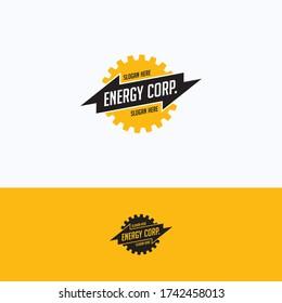 Energiekorp-Logo. Logo-Vorlage für den industriellen Zahnradsatz. Rund leuchtendes mechanisches Logo mit Text im Inneren