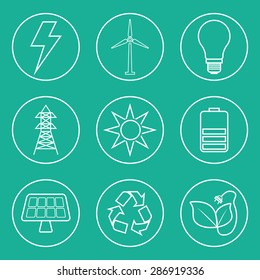 Energy design over blue background, vector illustration.