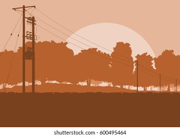 Energy distribution high voltage power line tower sunset landscape with wires and trees vector background