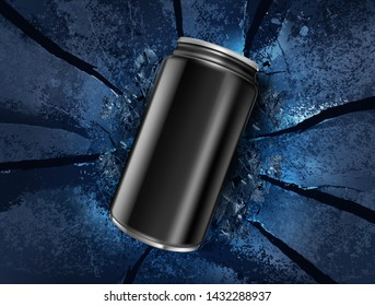 Energy drink canned on explosion background Ads. Of free space for your copy and branding. Vector 3D illustration.
