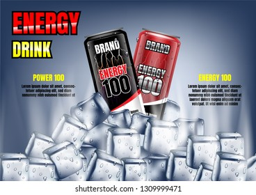 Energy drink cans with ice cubes and template