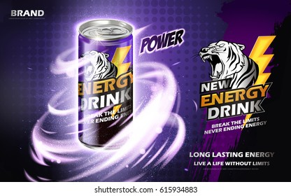 energy drink contained in metal can with mysterious twister element, purple background 3d illustration