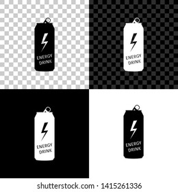 Energy drink icon isolated on black, white and transparent background. Vector Illustration