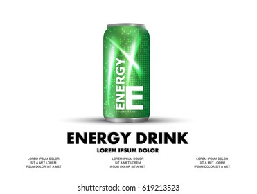 Energy drink isolated on white background.Contained in green can template,with element surrounds.For web site,poster,placard,wallpaper and flyer.Also useful for ads,advertisement and social network