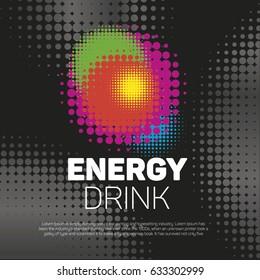 Energy drink label halftone background