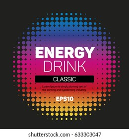Energy drink label halftone background