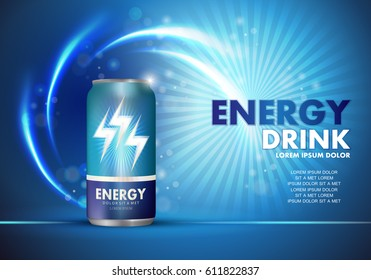 Energy drink on sparkly and shiny backdrop.Contained in blue can template,with element surrounds.
