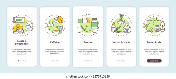Energy drinks ingredients onboarding mobile app page screen with concepts. Sugar, caffeine, taurine walkthrough 5 steps graphic instructions. UI vector template with RGB color illustrations