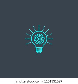 Energy efficiency concept blue line icon. Simple thin element on dark background. Energy efficiency concept outline symbol design from green energy set. Can be used for web and mobile UI/UX