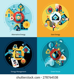 Energy efficiency design concept set with alternative power management flat icons isolated vector illustration