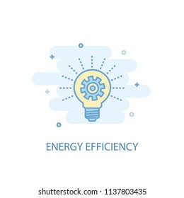 Energy efficiency line trendy icon. Simple line, colored illustration. Energy efficiency symbol flat design from Green Energy set. Can be used for UI/UX