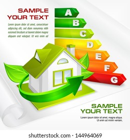 Energy efficiency rating with arrows and house & text, vector illustration.