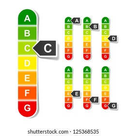 Energy efficiency rating. Vector.