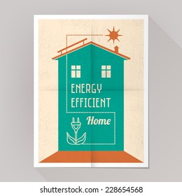 Energy efficient house and solar panels poster vintage style.