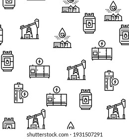 Energy Electricity And Fuel Power Icons Set Vector. Electric Solar Panel And Battery, Turbine And Dam, Energy Plant And Coal, Petrol And Gas Black Contour Illustrations