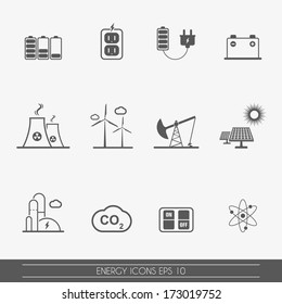 Energy and electricity icons, vector.