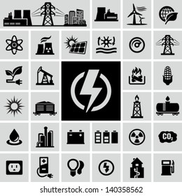 Energy, electricity, power icons