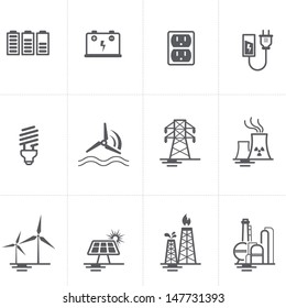 Energy, electricity, power icons set.