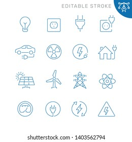 Energy and electricity related icons. Editable stroke. Thin vector icon set, black and white kit