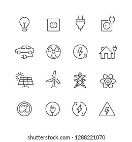 Energy and electricity related icons: thin vector icon set, black and white kit