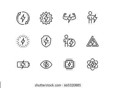Energy and electricity related vector icon set in thin line style