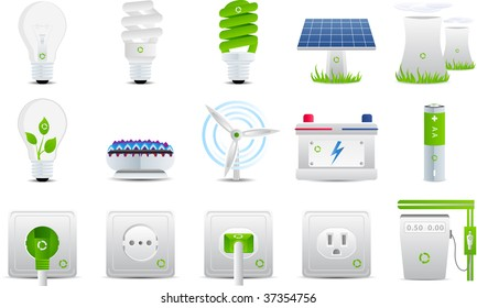 Energy and electricity set 15 icons