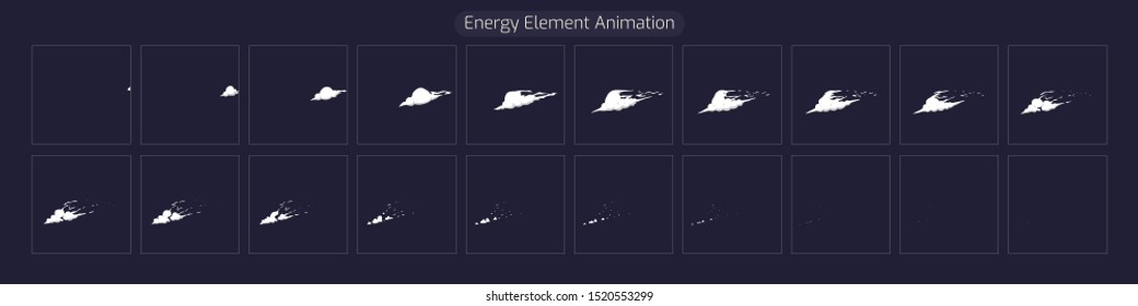 Energy Element FX. Sprite Sheet Explosion Effect for App, Video Game or Classic 2d Cartoon. Vector EPS 10 illustration.