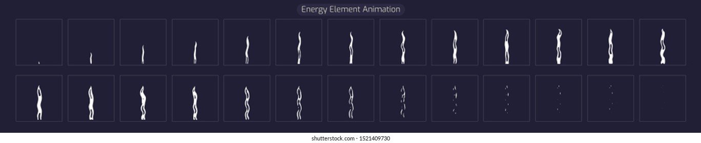 Energy Element FX. Sprite Sheet Smoke Explosion Effect for App, Video Game or Classic 2d Cartoon. Vector EPS 10 illustration.