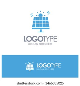 Energy, Environment, Green, Solar Blue Solid Logo with place for tagline. Vector Icon Template background