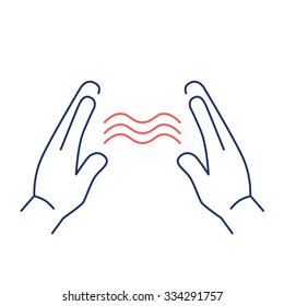 Energy flowing between healings hands red and blue linear icon on white background | flat design alternative healing illustration and infographic