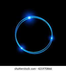 Energy frame. Shining circle banner. Magic light neon energy circle. Glowing fire ring trace. Glitter sparkle swirl trail effect on black background. Blue color version. Easy to use.