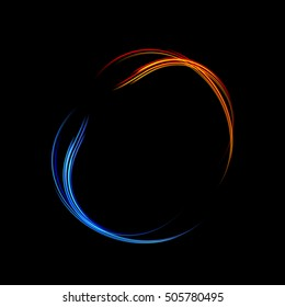 Energy frame. Shining circle banner. Magic light neon energy circle. Glowing fire ring trace