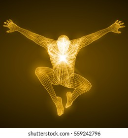 energy of the free falling man figure.