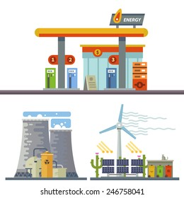 Energy and Gas Station. Urban and village landscape. Ecology. Vector flat illustration
