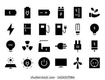 energy glyph icon symbol set
