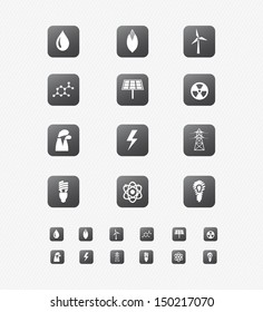 Energy Icon on black Button Collection 1