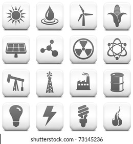 Energy Icon on Square Black and White Button Collection Original Illustration