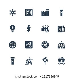energy icon set. Collection of 16 filled energy icons included Coal, Pinwheel, Power, Flashlight, Mass, Mint, Air, Voltmeter, Fist, Flash, Bulb, Factory, Dimmer, Positive ion