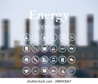 Energy icon set. EPS 10 vector illustration with mesh and without transparency.