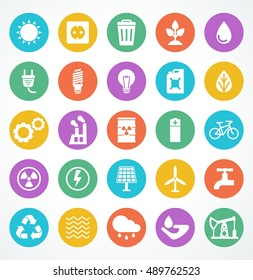 Energy icon set. Flat cartoon electricity icons. Objects isolated on a white background.