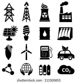 Energy icon set on white