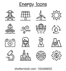 Energy icon set in thin line style